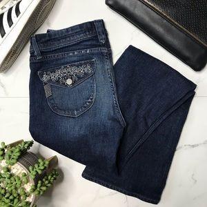 Paige premium denim bootcut dark wash jeans